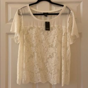 NWT TORRID blouse-sheer w/eyelash lace edging